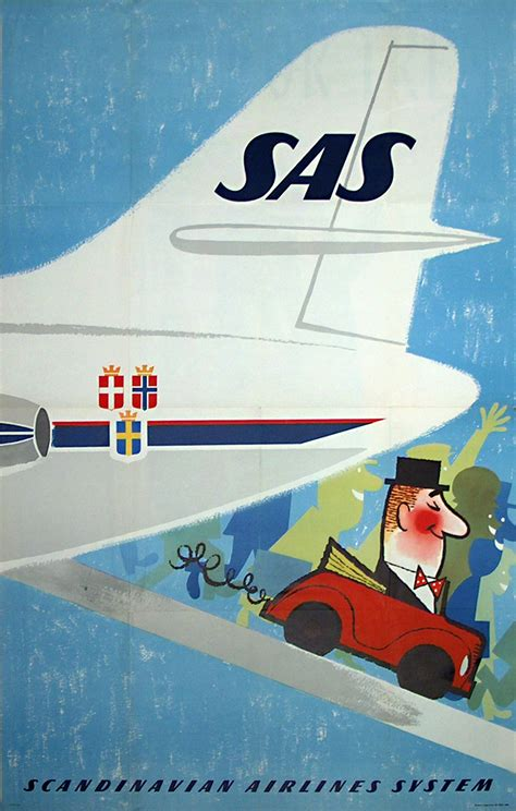 Original vintage poster: SAS - Fly & Hire for sale at