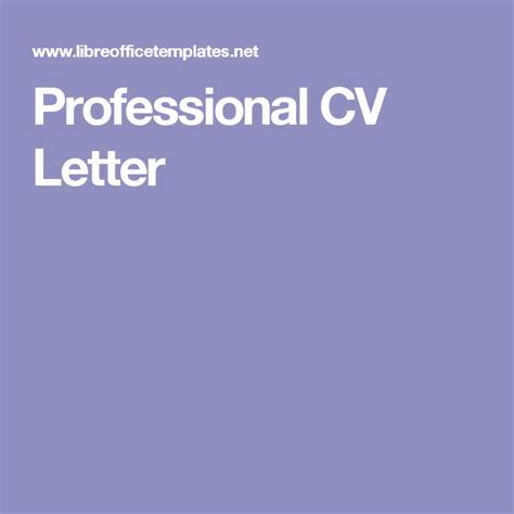 Professional CV Letter | Lettering, Professional