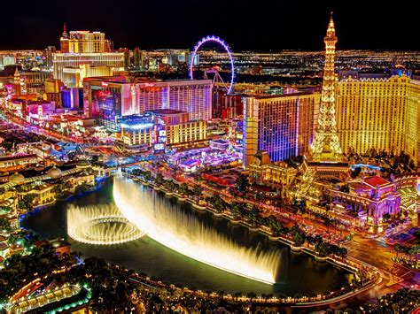 Las Vegas Strip At Night Seen From The Balcony Of The
