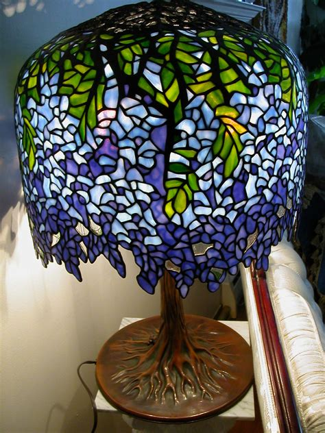 SOLD: Tiffany Blueviolet Wisteria Stained Glass Lamp   Flickr