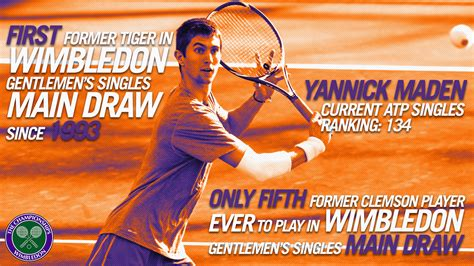 Yannick Maden Falls at Wimbledon, First Former Tiger to