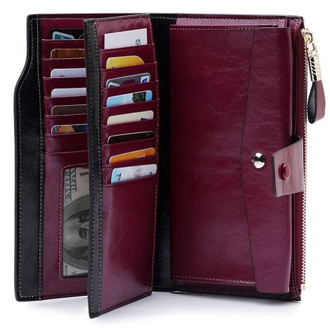 High Quality Oil Wax Leather RFID Wallet Women Hasp Zipper