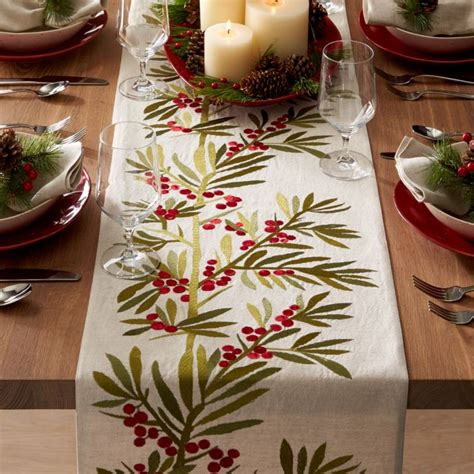 """Holly Embroidered Table Runner 120"""" + Reviews 