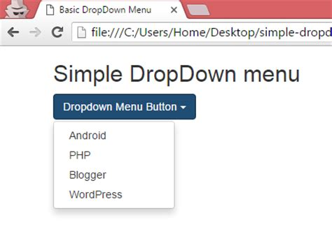 Create simple basic DropDown menu using bootstrap classes