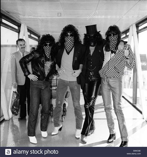 Pop Group Kiss arrive at Heathrow Airport from Milan 1980