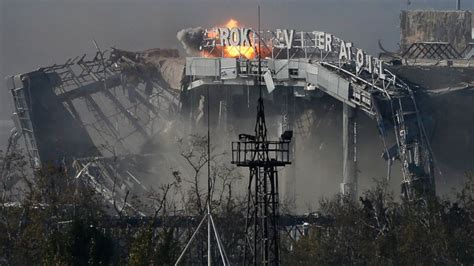 Ukrainian Airport Goes Up In Flames After Firefight - ABC News
